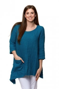 Grizas TEXTURED LINEN ONE POCKET TUNIC