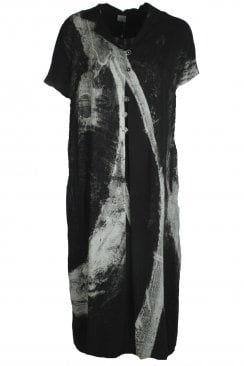 ABSTRACT PRINTED POCKET DRESS