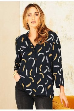 BELLE SHIRT FEATHER PRINT