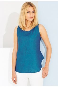 GIANNA AZURE LINEN TOP