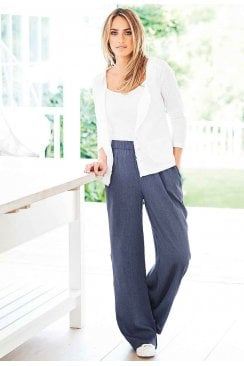 HALLIE  WIDE LEG TROUSER DENIM CREPE