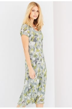 IRIS DRESS ANIQUE FLOWER PRINT