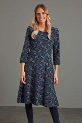 JULIET DRESS TEXTURED LEAF PRINT