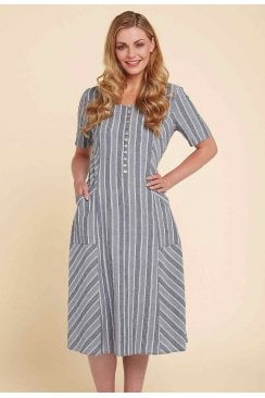 TINA DRESS DACOTA STRIPE