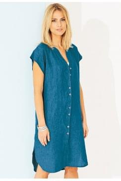 VALENTINA DRESS AZURE LINEN