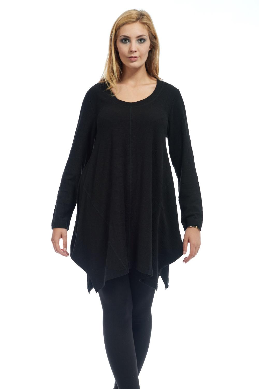 Simple long sleeved round neck plain tunic from capri for Womens denim tunic shirt