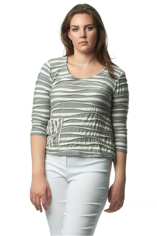 Capri Clothing NEVADA STRIPE ONE POCKET TOP
