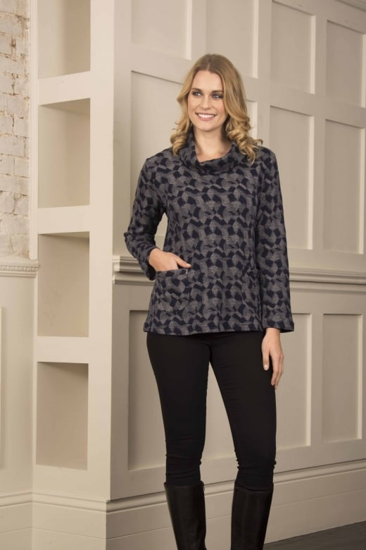 Capri Clothing PATCHWORK JERSEY COWL TOP