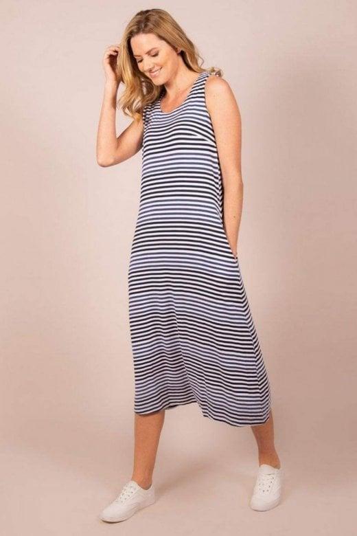 Capri Clothing PISA SLEEVELESS SUMMER STRIPE DRESS