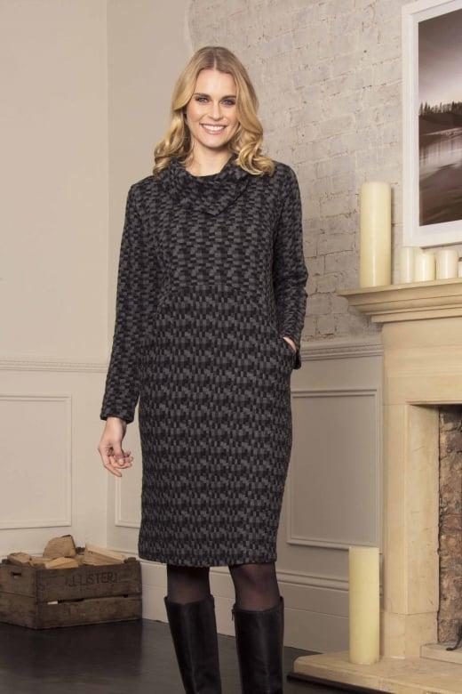Capri Clothing RAISED CHECK COWL DRESS