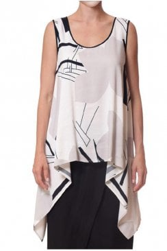 ABSTRACT FLOWER SLEEVELESS TOP