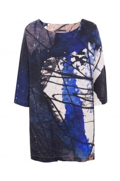 BATWING ABSTRACT COBALT TUNIC