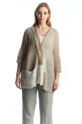 BOXY SHORT SLEEVE  LINEN MIX CARDIGAN