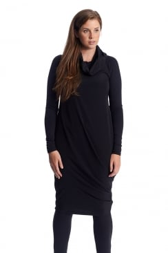 COWL NECK DRAPED HEM DRESS