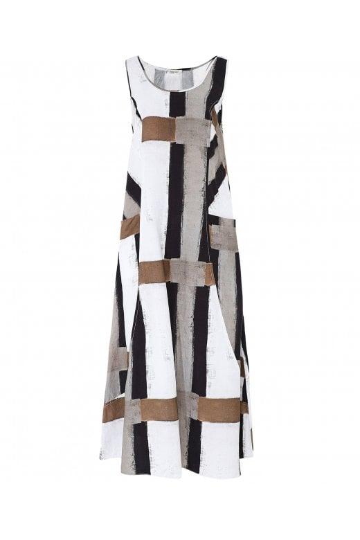 Crea Concept LINEN BLEND ABSTRACT STRIPE SLEEVELESS DRESS
