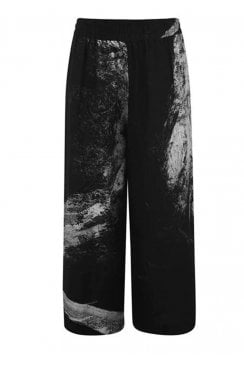 PRINTED LINEN WIDE LEG TROUSER