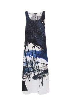 SLEEVELESS ABSTRACT PRINT DRESS