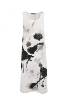 SLEEVELESS ABSTRACT SPLASH PRINT SLEEVELESS DRESS