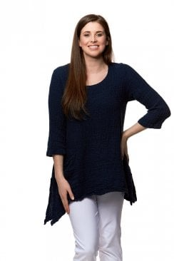 TEXTURED LINEN ONE POCKET TUNIC