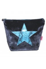 SNAKESKIN STAR LARGE COSMETIC PURSE