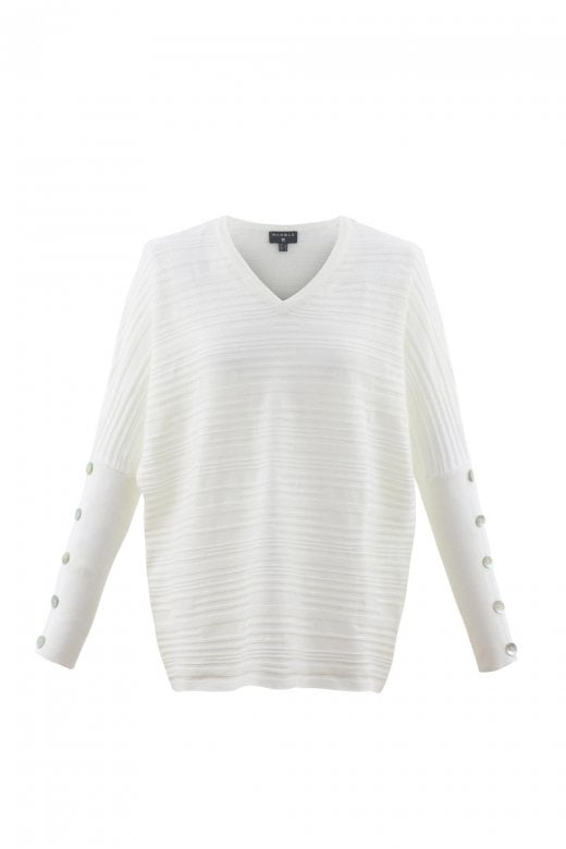 MARBLE CLOTHING BUTTON SLEEVES V-NECK SWEATER