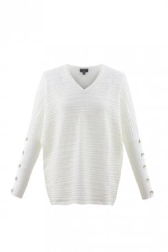 BUTTON SLEEVES V-NECK SWEATER
