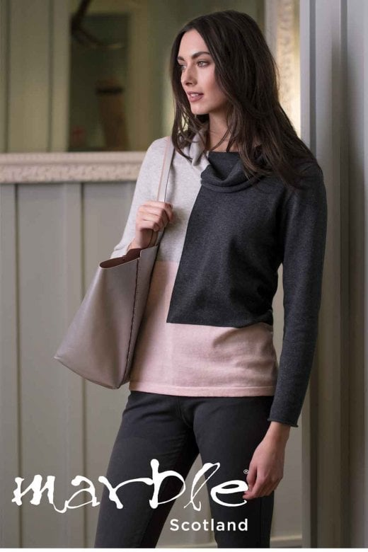 MARBLE CLOTHING COLOUR BLOCK COWL NECK JUMPER