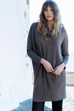 COWL KNIT TUNIC DRESS