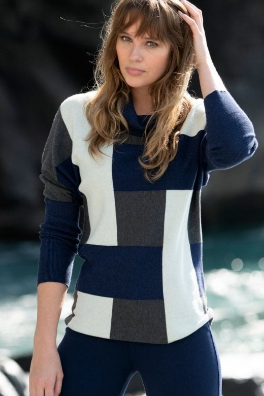 MARBLE CLOTHING COWL NECK PATTERNED KNIT JUMPER