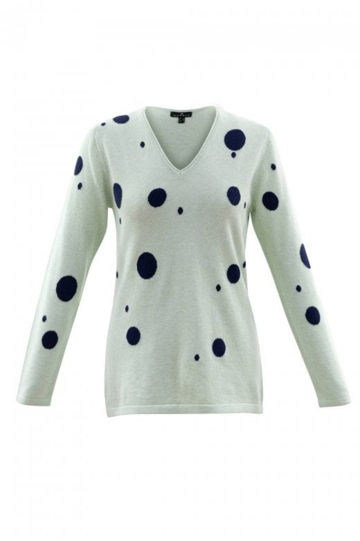 MARBLE CLOTHING MINT NAVY SPOTTED COTTON KNIT JUMPER