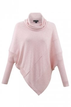 POLO NECK SOFT PINK PONCHO JUMPER