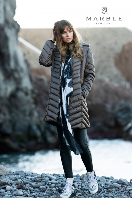 MARBLE CLOTHING QUILTED LONG LINE COAT