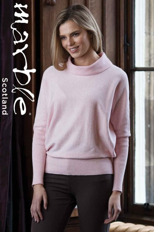 MARBLE CLOTHING SOFT PINK COWL NECK SWEATER