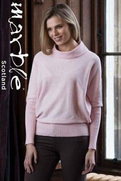 SOFT PINK COWL NECK SWEATER