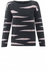 STRIPE DESIGN COTTON KNIT JUMPER