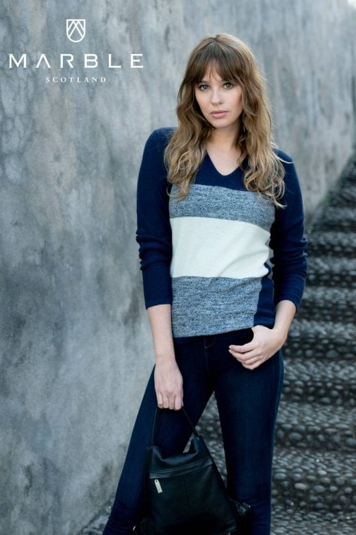 MARBLE CLOTHING V NECK COTTON KNIT TOP