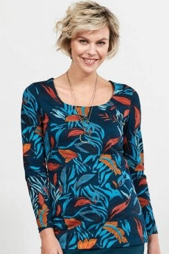 DANCING LEAVES ORGANIC COTTON LONG SLEEVED TOP
