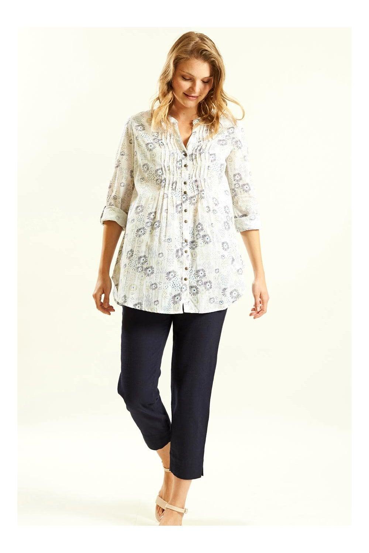 Navy Blue DY5016 Nomads Tunic Shirt A Soft Cotton Floral Blouse.