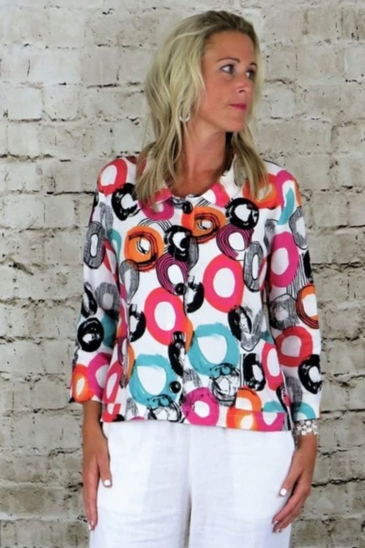 OUT OF XILE BUTTON BACK PRINTED LINEN JACKET