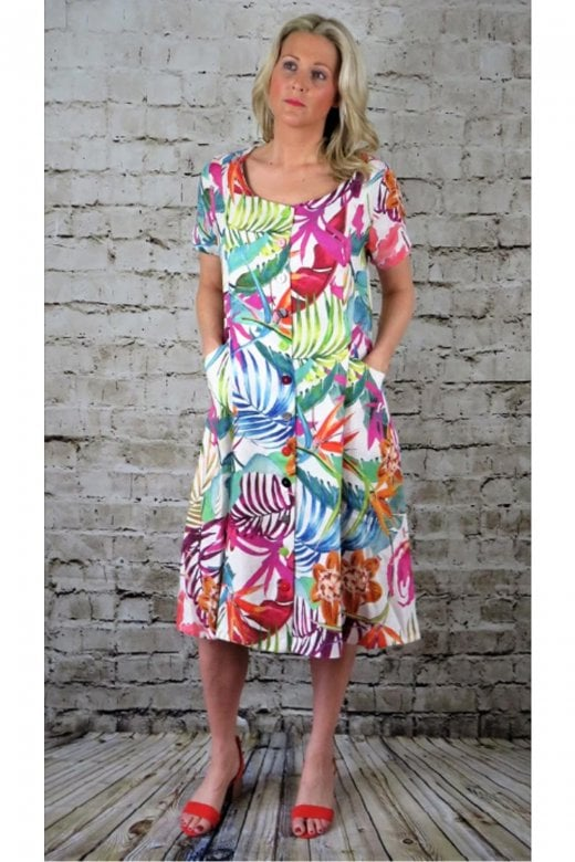 OUT OF XILE BUTTON FRONT FLORAL LINEN DRESS