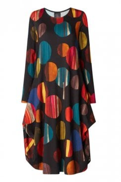 CIRCLES PRINT HITCH UP DRESS