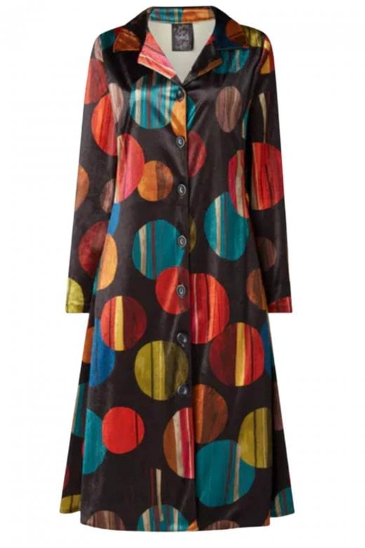 OUT OF XILE CIRCLES PRINT VELVET SCARF COAT