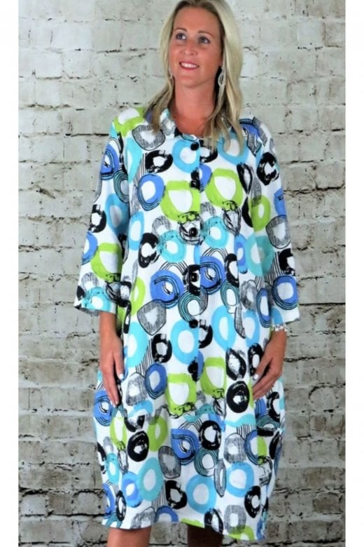 OUT OF XILE PRINTED LINEN BELL DRESS