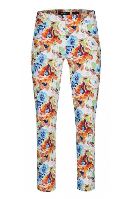Robell Trousers FLORAL MULTI PRINT ROSE TROUSER