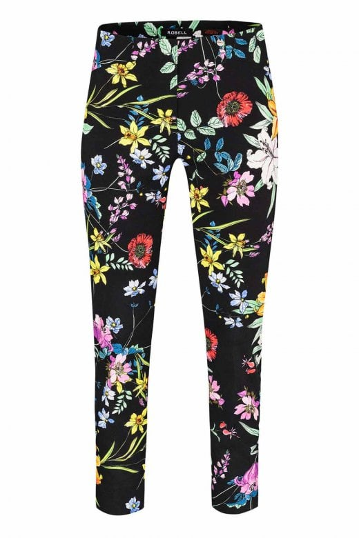 Robell Trousers ROSE BLACK FLORAL TROUSER
