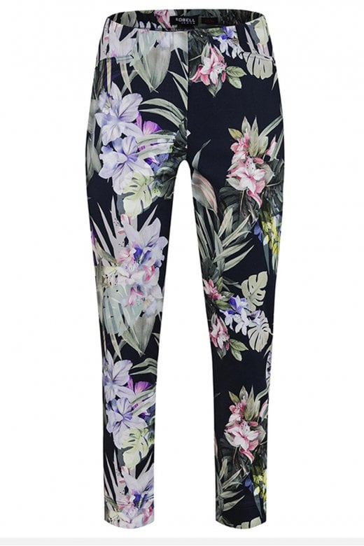 Robell Trousers ROSE NAVY FLORAL PRINT TROUSER