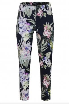 ROSE NAVY FLORAL PRINT TROUSER