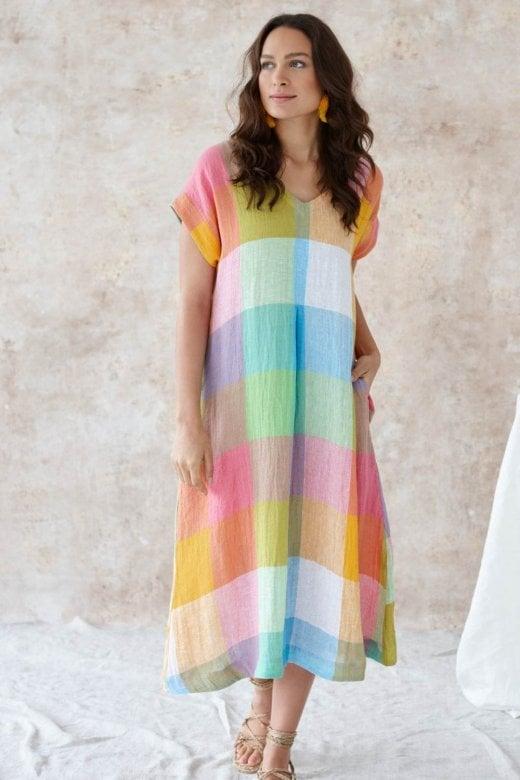 Sahara Clothing ARTIST PALLETTE LINEN DRESS