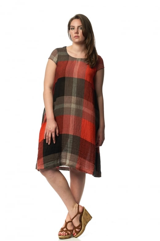 Sahara Clothing BOLD CHECK LINEN DRESS