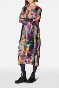 BRUSHSTROKE PRINT BUBBLE DRESS
